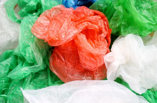 A pile of crumpled plastic bags.