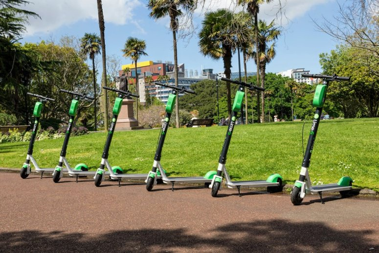 Lime scooters parked up